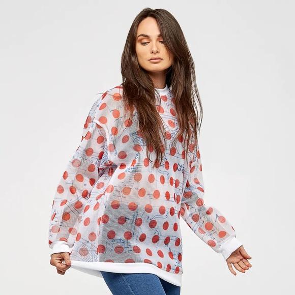 bd293ca965545 Adidas Osaka mesh polka dot sweatshirt NWT